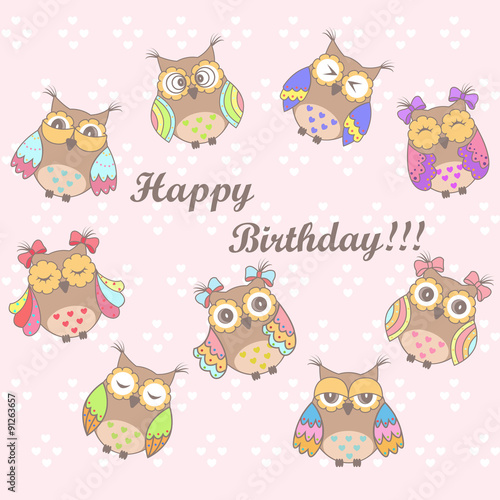 Photo sur Aluminium Hibou Beautiful card with a birthday with owls on a pink background