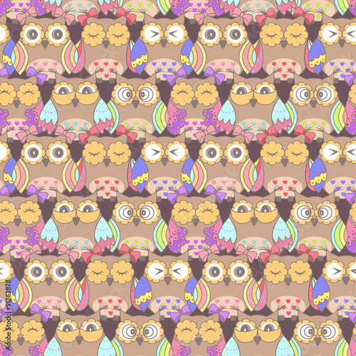 Poster Hibou Seamless pattern of owls on a dark background