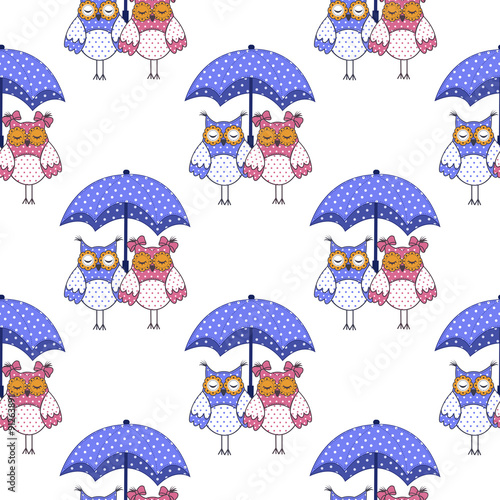 Poster Hibou Seamless pattern with owls in love and umbrella on white background
