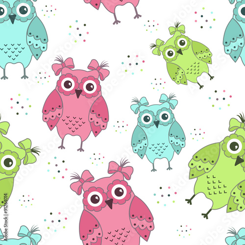 Photo sur Aluminium Hibou Seamless pattern of colorful owls
