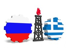 Russian And Greece Flags On Gears, Gas Rig Between Them