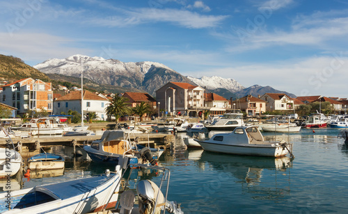Deurstickers Stad aan het water View of Tivat city, Montenegro
