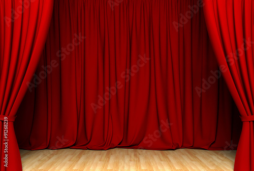 Fotografía  Act drape with red curtains
