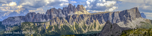 Fotografie, Tablou  Dolomites: panoramic view of the Croda da Lago and Lastoi de For