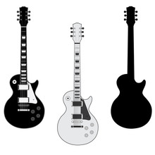 Guitar Silhouettes Isolated On White Background. Vector Image