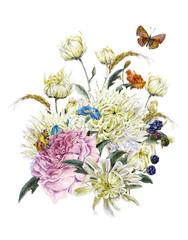 Fototapeta Jesień Watercolor Card with Chrysanthemums