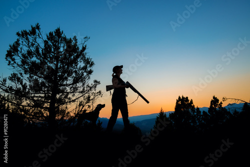 Foto op Canvas Jacht Female Hunter in Sunset
