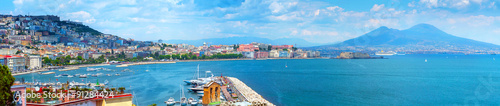Fotobehang Napels Panorama of Naples, view of the port in the Gulf of Naples and Mount Vesuvius. The province of Campania. Italy.