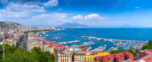 Montage in der Fensternische Neapel Panorama of Naples, view of the port in the Gulf of Naples and Mount Vesuvius. The province of Campania. Italy.
