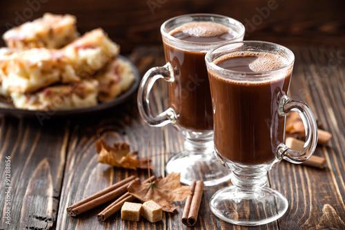 Foto op Plexiglas Chocolade cocoa drink