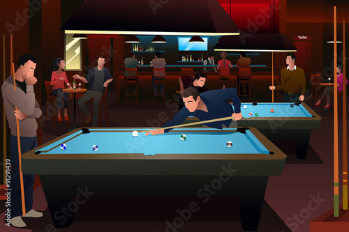 Fotografie, Obraz  People Playing Billiard
