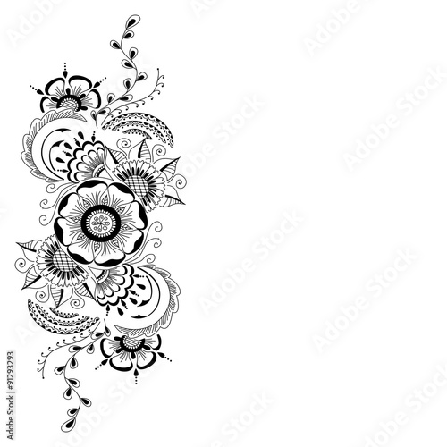 Hand Drawn Abstract Floral Background In Mehndi Style