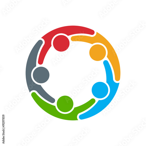 Fotografía  People logo. Group of five persons in circle