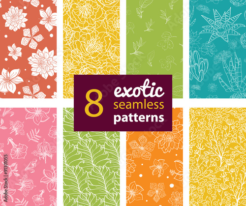 Osiem egzotycznych kwiatów wektor zestaw bez szwu wzorów. Soczysty