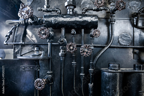 Photo  Background of engine room detail in a steam locomotive