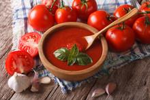 Homemade Tomato Sauce With Garlic And Basil Closeup. Horizontal