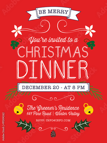 Christmas Dinner Invitation Card Vector Design Buy This
