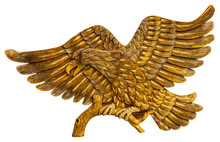 Thai Style Golden Bird Carving Isolated