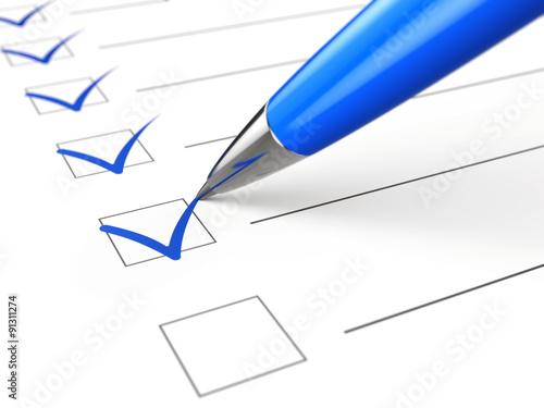 Fotografia  Checklist concept - checklist, paper and pen