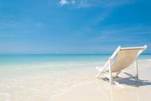 Beach Chair On Beach With Blue Sky
