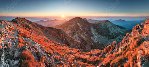 Fotobehang Cappuccino Panoramic Beautiful Carpathian mountains in autumn