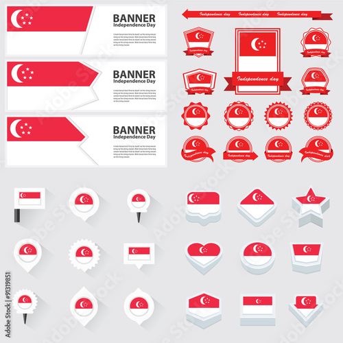 Photo  singapore independence day, infographic, and label Set.