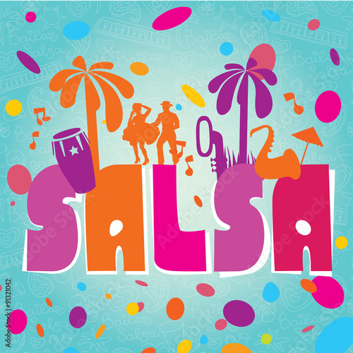 Salsa vector lettering with silhouettes of palms, musical instruments and confetti. Modern illustration, design element. - 91321042