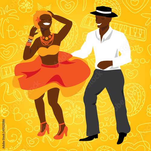 Fotografía  Salsa dancers. Cuban couple dance salsa.