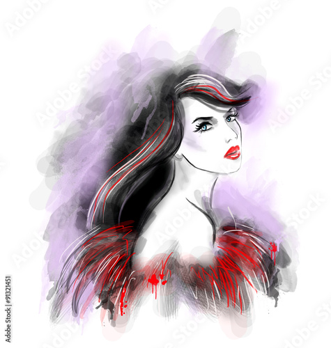 Canvas Prints Watercolor Face Fashion beautiful woman abstract. Illustration water color