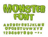 Fototapeta Dinusie - Monster font. Green scary letters. Vector alphabet. Live Abc