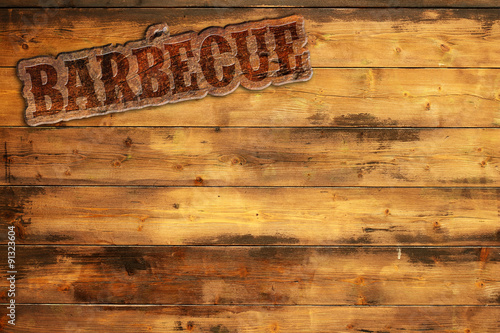 Fotobehang Grill / Barbecue barbecue label nailed to a wooden background