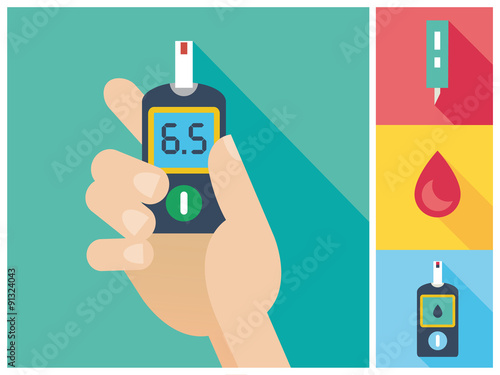 Fotografía  Diabetes Flat icon set - Blood Glucose Test - Hand holding Glucose Meter