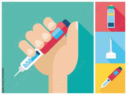 Fotografía  Diabetes icon set - Hand holding Insulin Injection Pen