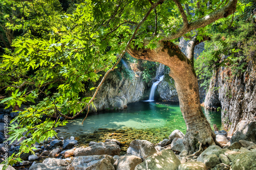 Door stickers Khaki Waterfalls in Samothraki