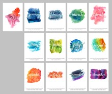 Vector Watercolor Calendar For...