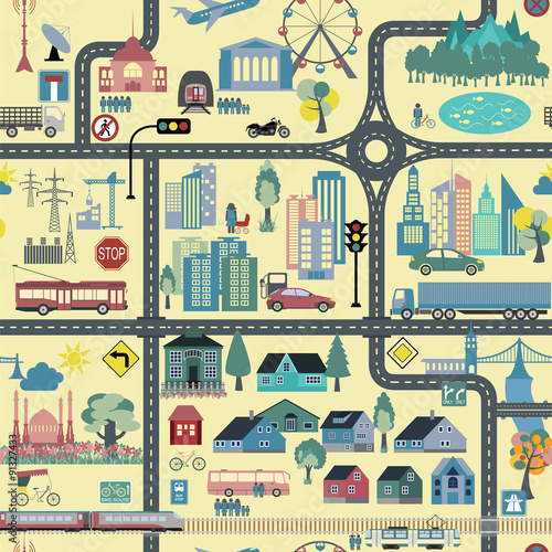 Cotton fabric City map generator. City map example. Elements for creating your