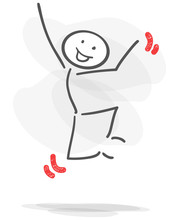 Stickman Jumping Happy Red