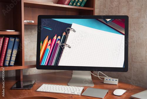 Fotografie, Obraz  Počítačový displej s prázdnou bílou obrazovku