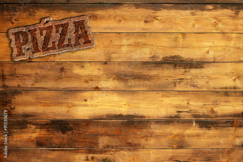 Spoed Foto op Canvas Grill / Barbecue pizza signboard nailed to a wooden wall