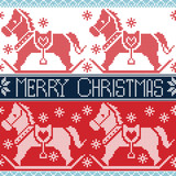 Light and dark blue , red Merry Christmas Scandinavian seamless Nordic pattern with  rocking dala pony horses, stars, snowflakes in cross stitch knitting