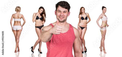 Fototapeta Man and women with perfect bodies obraz na płótnie