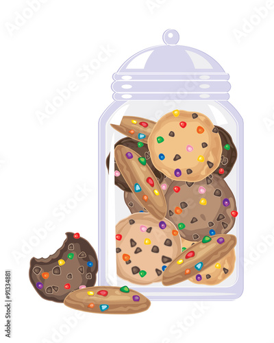 Canvas Print candy cookies in a jar