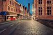 Bruges historical center street at night