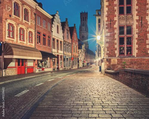 Deurstickers New York City Bruges historical center street at night
