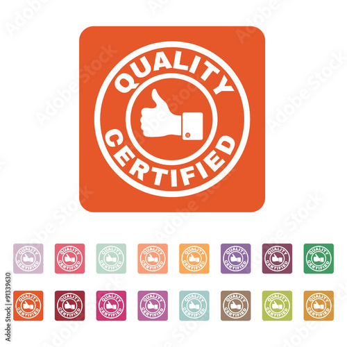 The certified quality and thumbs up icon Canvas Print