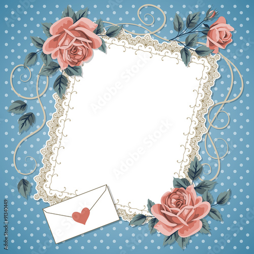 Poster Abstract bloemen Retro background with roses