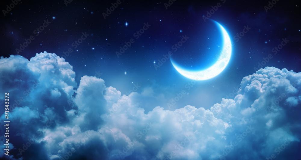Fototapeta Romantic Moon In Starry Night Over Clouds