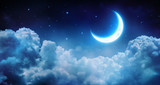 Fototapeta  - Romantic Moon In Starry Night Over Clouds