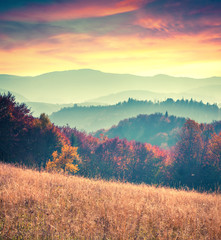 Panel Szklany Podświetlane Do biura Colorful autumn sunrise in the Carpathian mountains
