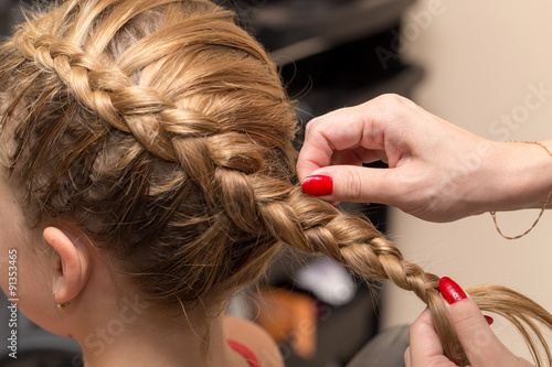 Fotografia, Obraz  braided pigtails in the beauty salon